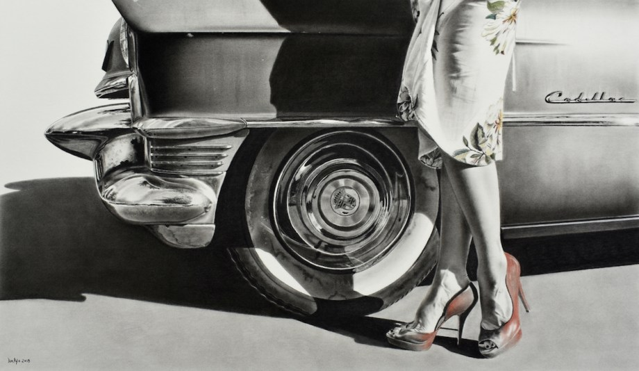 """Title Heels and Wheels Medium charcoal with pastel Size 22"""" x 39"""""""