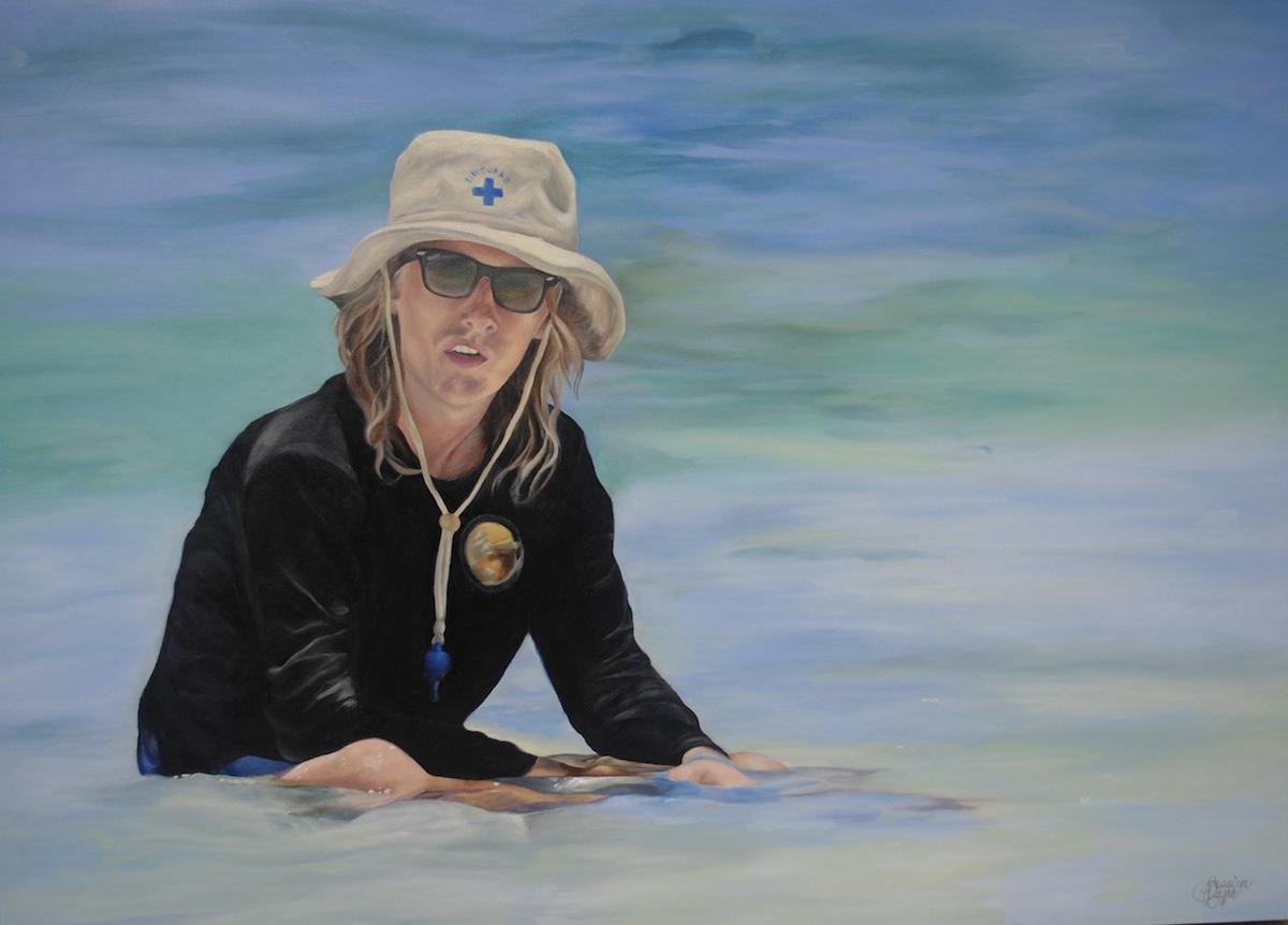 Title Beach Bum Medium OIl on canvas Size 4' x 6'