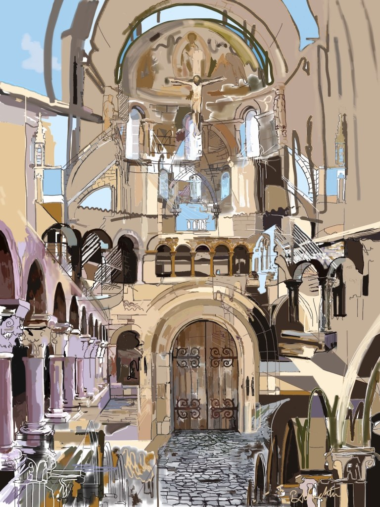 "Title The Cloisters Medium Digital drawing Size 18"" x 12"""