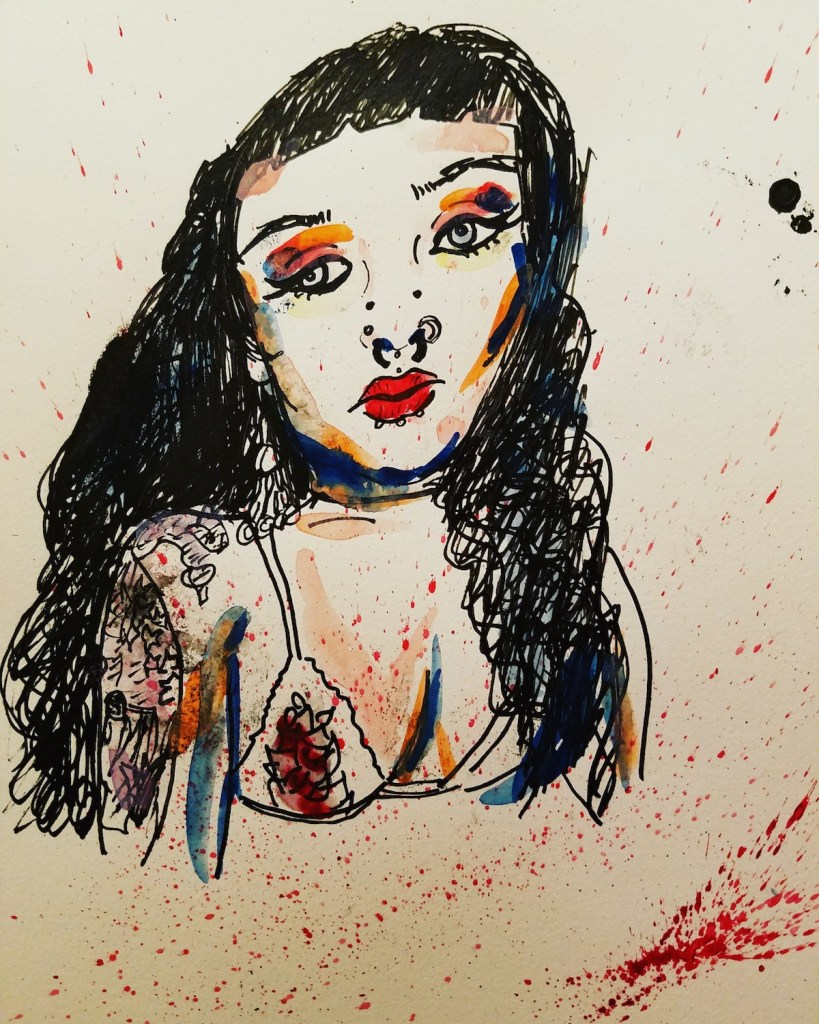 """Title """"Approachable"""" Medium Watercolor, Indian ink Size 9""""×12"""""""