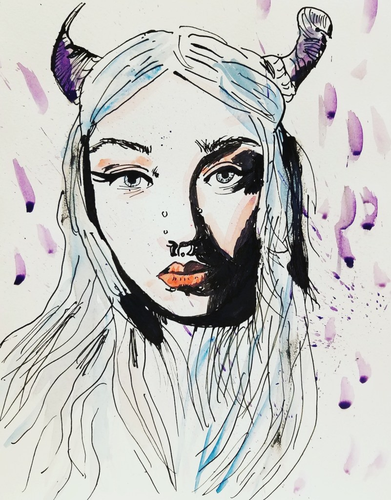 """Title """"Ethereal Demon babe"""" Medium Watercolor, Indian ink Size 9""""x12"""""""