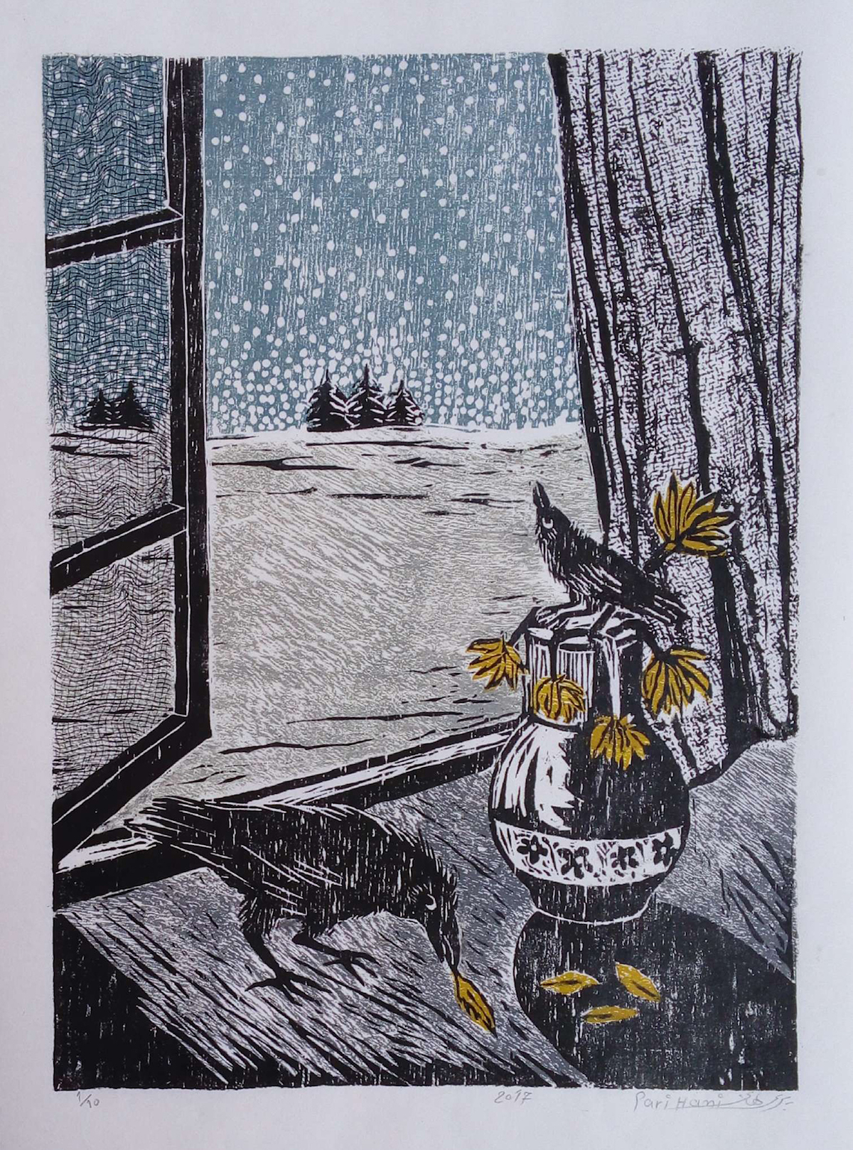 Title Beyond the Window Medium Woodcut Print Size 26*36 cm