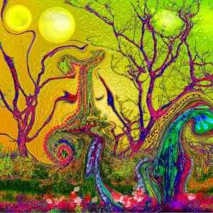 """Title The Night Garden Medium Digital Painting Size 19""""X13"""" unframed; various sizes possible"""