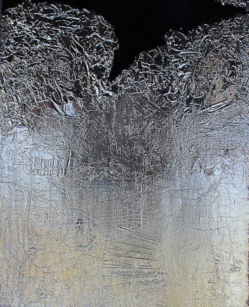 "Title Yannococha Medium silver nitrate deposit on panel Size 24""x30"""