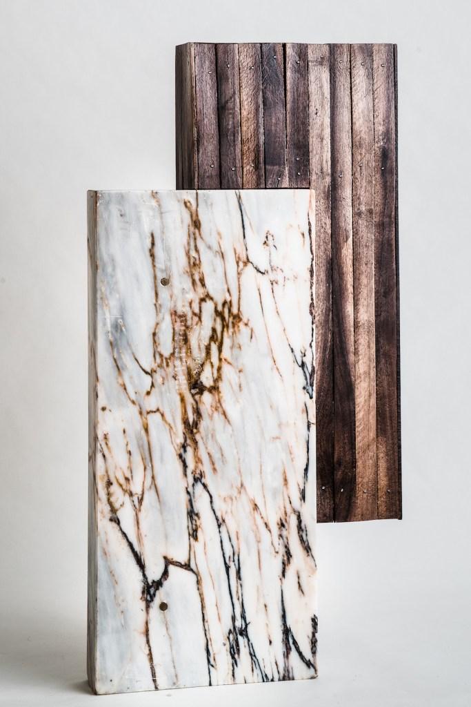 "Title Embrace Medium Walnut wood and Marble Size 34"" X 20"" x 8"""