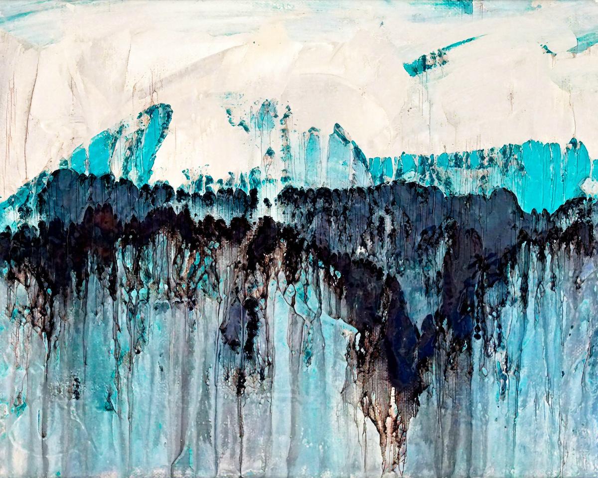 """Title """"Cascading Blues"""" Medium Mixed-Media Digital on Canvas Size 40X30"""