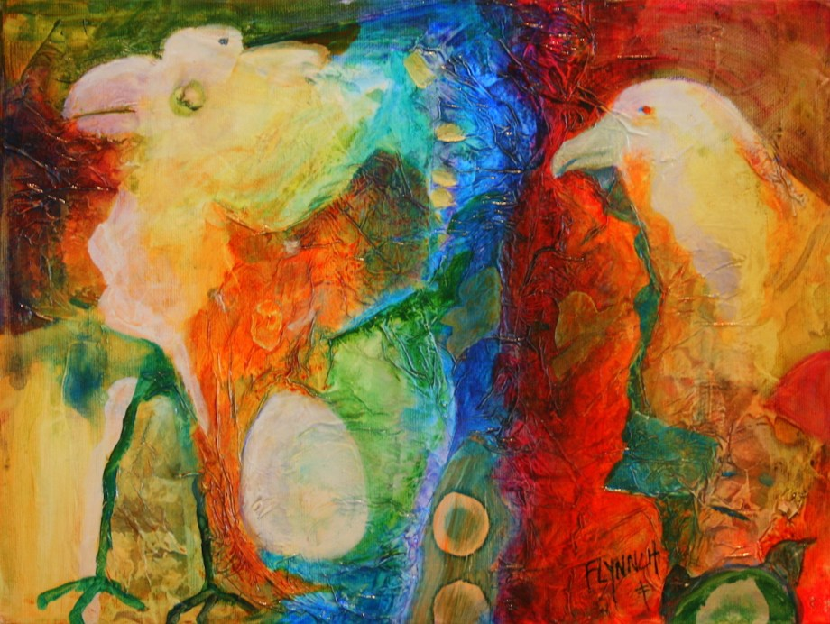 Title Of Faces and Feathers Medium Mixed Media Size 12x16