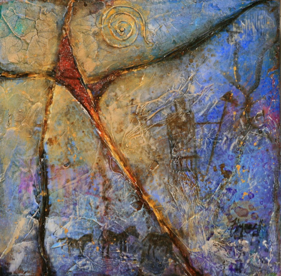 Title Pictographs in Stone Medium Mixed Media Size 12x12