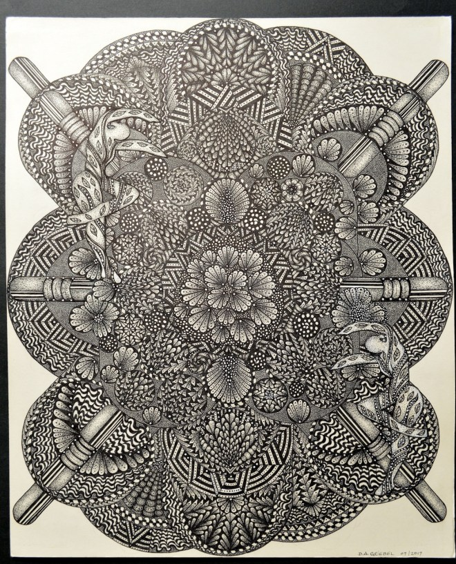 """Title SPIRITS OF NATURE Medium pen and ink Size 14""""x17"""""""