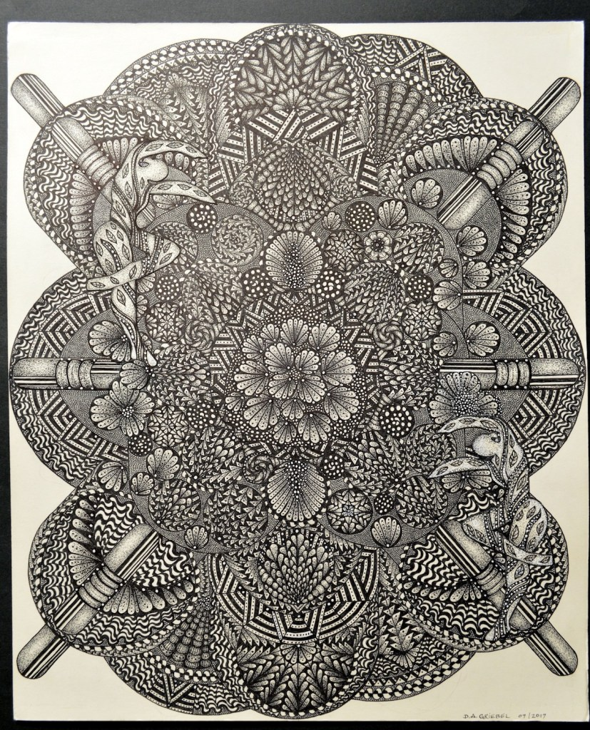 "Title SPIRITS OF NATURE Medium pen and ink Size 14""x17"""