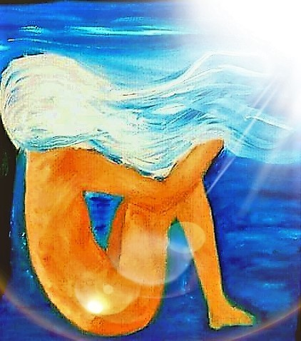 Title Elphie Swims Medium Digitally cropped and modified photograph of original oil painting Size 30x24 (orginial painting)