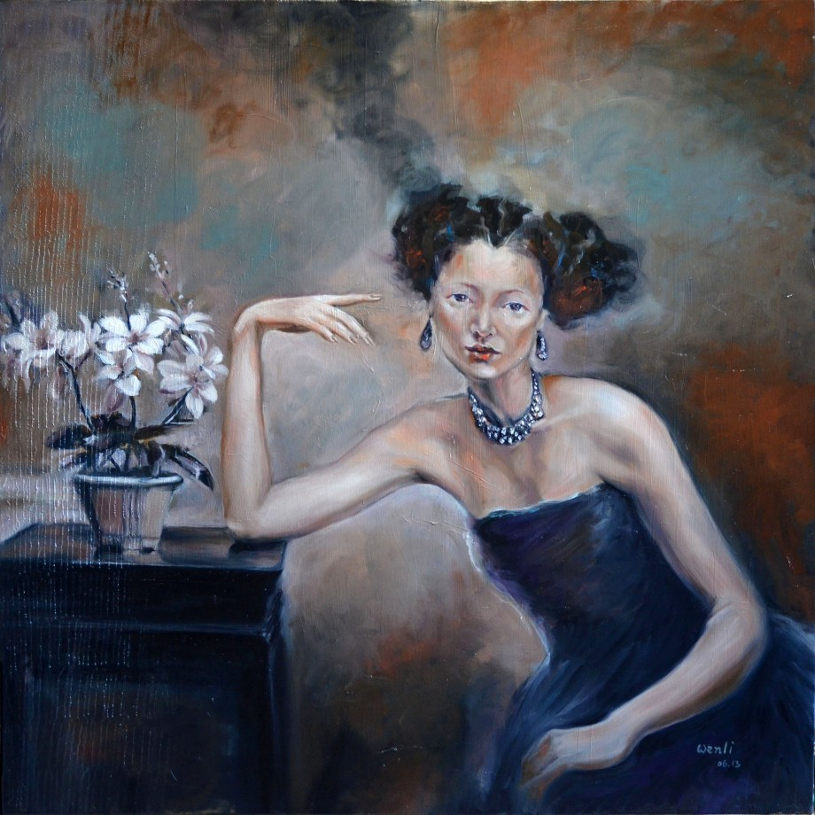 "Title Lady in Blue Medium oil Size 36""X36"""