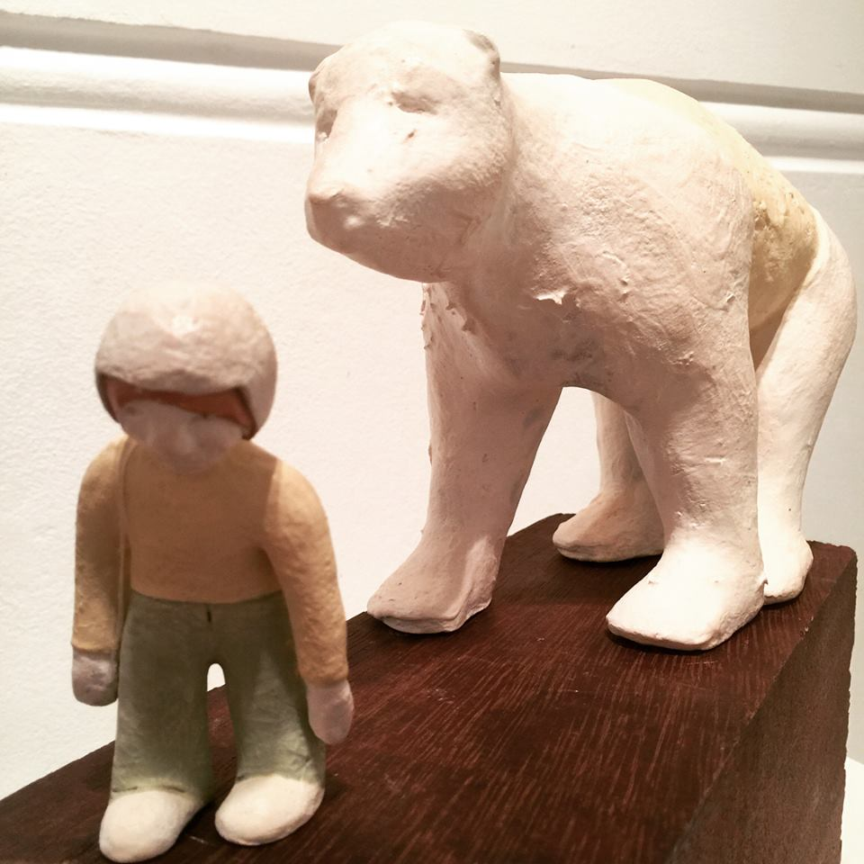 Title One Traveler and a Bear 2018 Medium Ceramic, found timber and textiles Size 40h x 13w x 19d