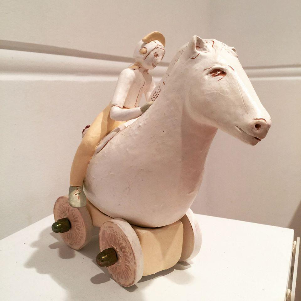 Title Traveler on Horse 2018 Medium Ceramic and metals Size 22h x 16w x 17d