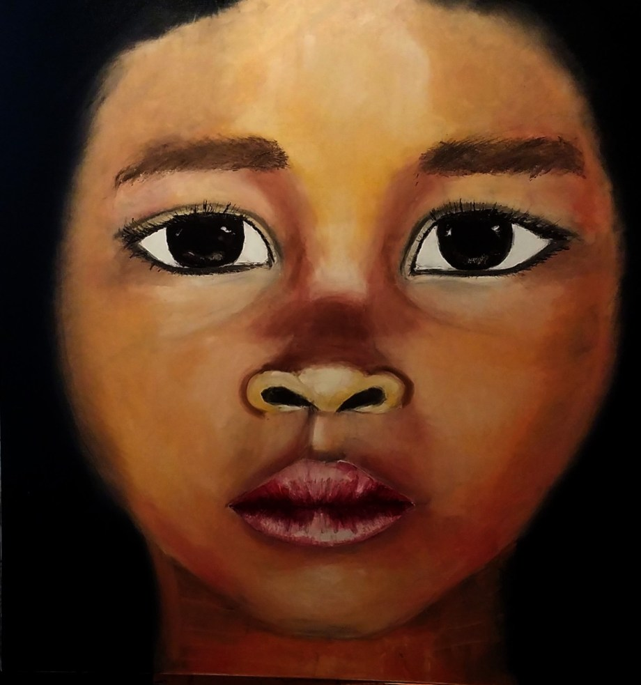 "Title ""THE STORY IN THEIR EYES XI"" Medium Oil in Canvas/spatulla Size 96cm x 96 cm"