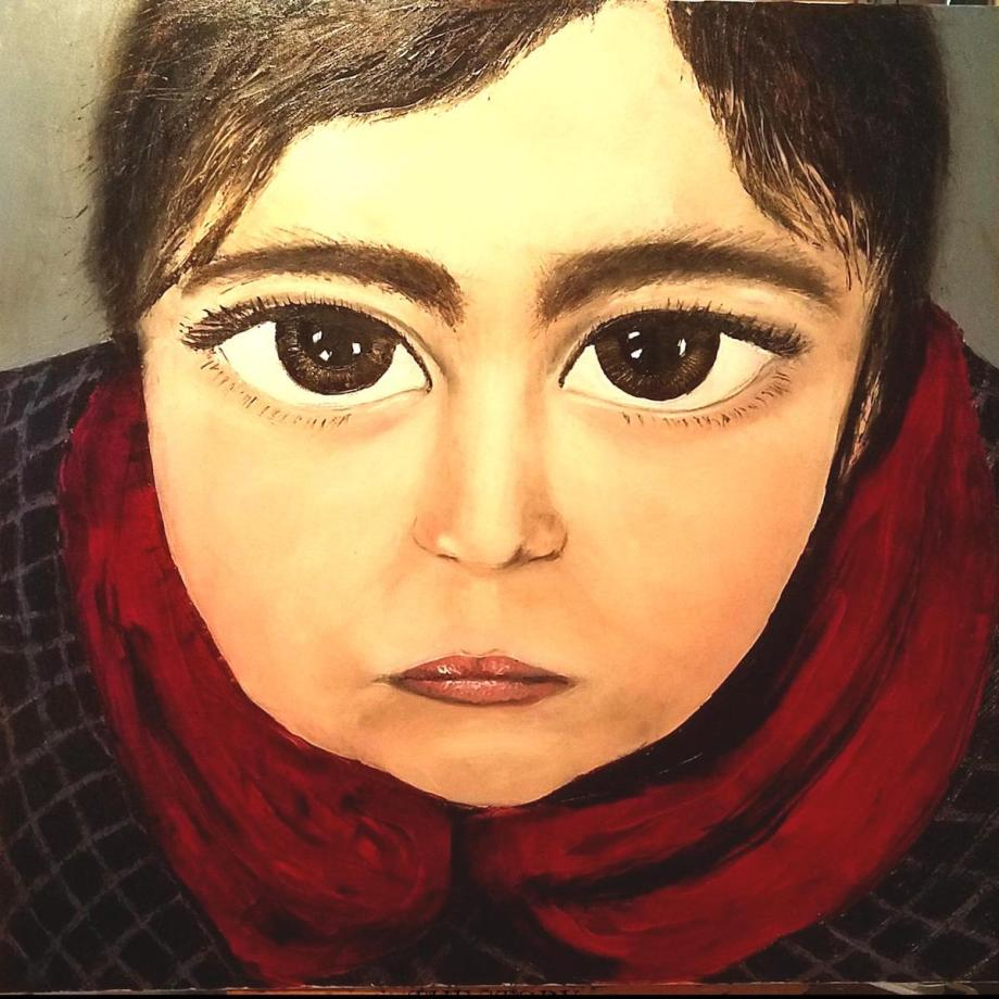 """Title """"THE STORY IN THEIR EYES IX"""" Medium Oin in canvas/ spatulla Size 96cm x 96 cm"""