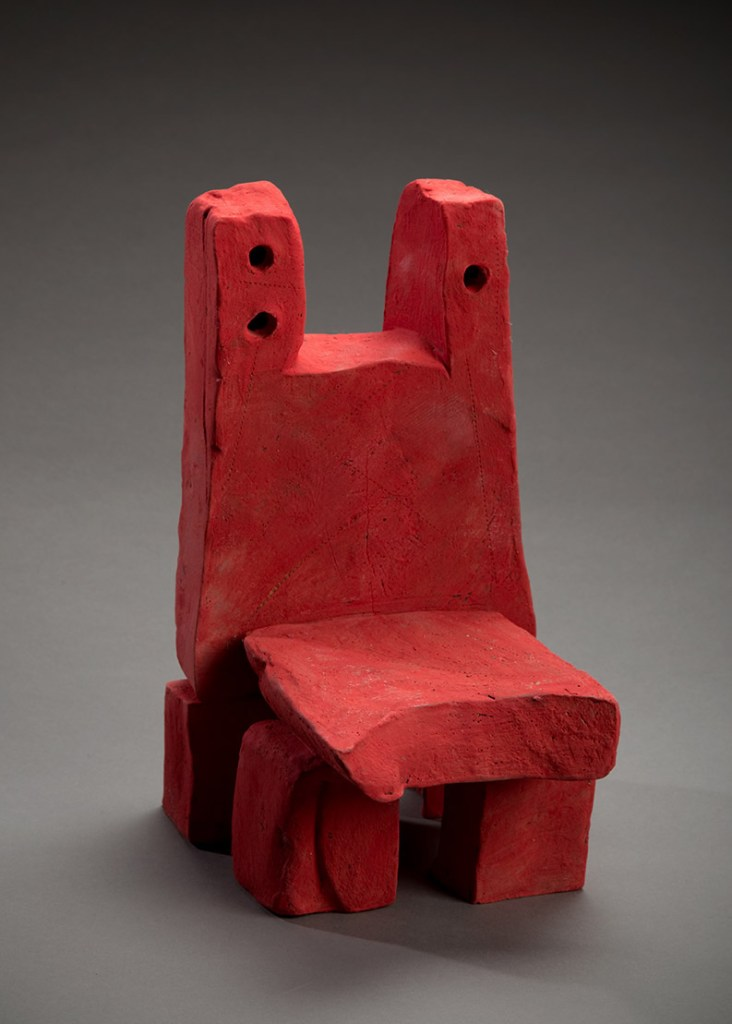 "Title Red Chair Medium Ceramic Size 12""h x 7""w x 8""d"