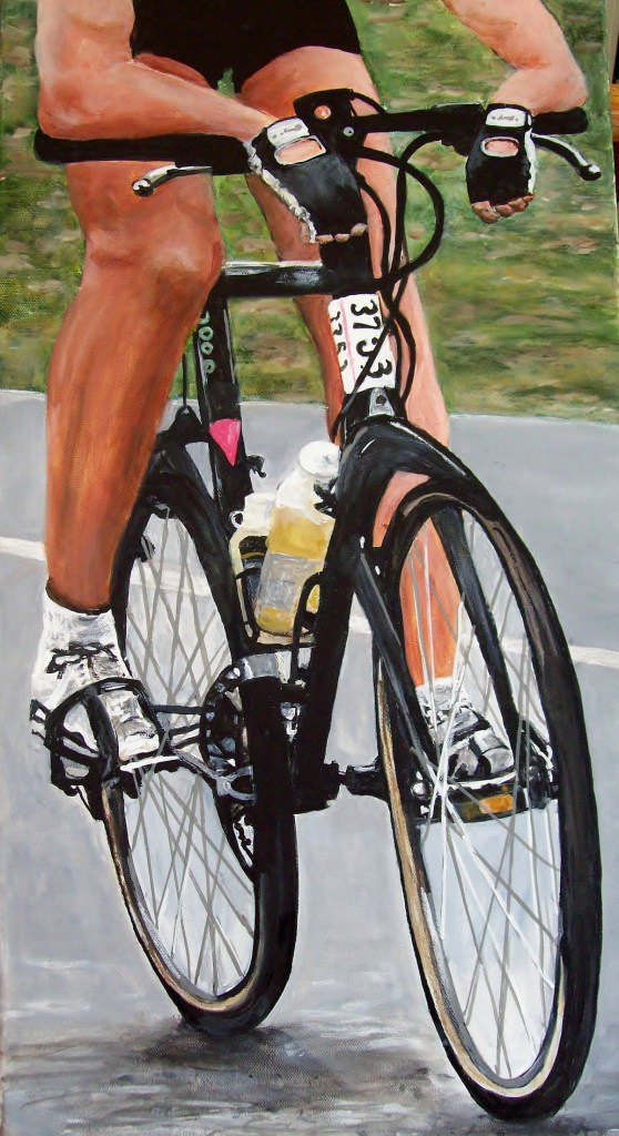 "Title The Cyclist Medium acrylic Size 12"" x 24"""