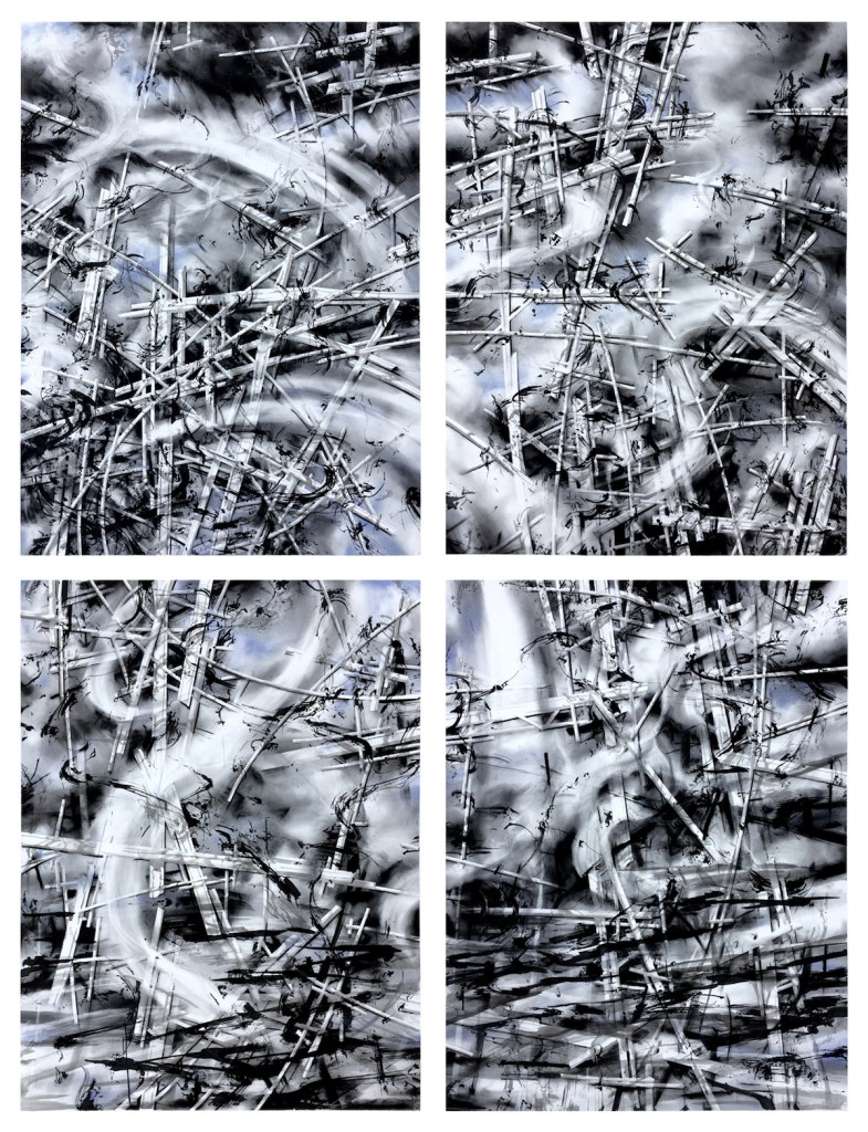 """Title traces Medium ink, graphite, charcoal, pastel on paper Size 80"""" x 60"""""""