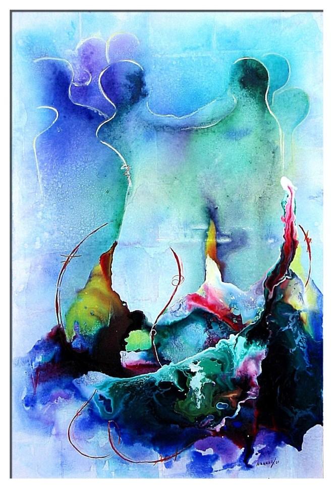 "Title ANNIVERSARY Medium Acrylic on canvas Size 24"" x 36"""