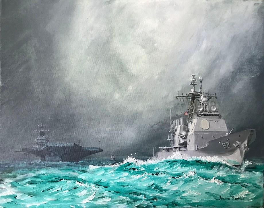 Title USS Chancellorsville Medium Oil on Canvas Size 16x20