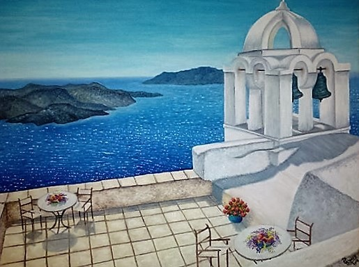 Title Table With A View Medium Oil Size 20`x 24`