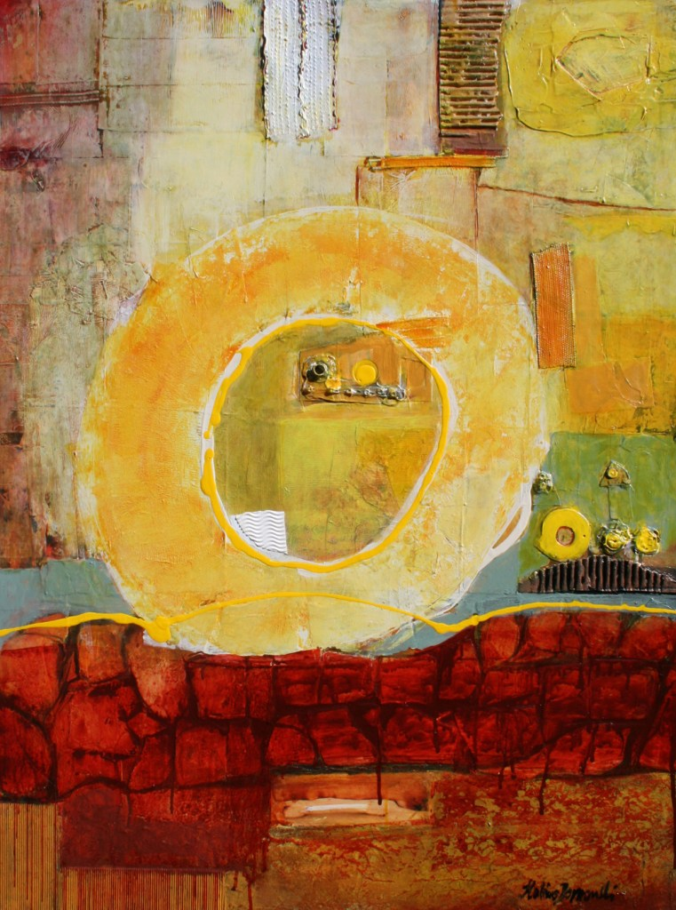 """Title Escaping from tunnels Medium Mixed media on canvas Size 40""""x30""""x1.5"""""""