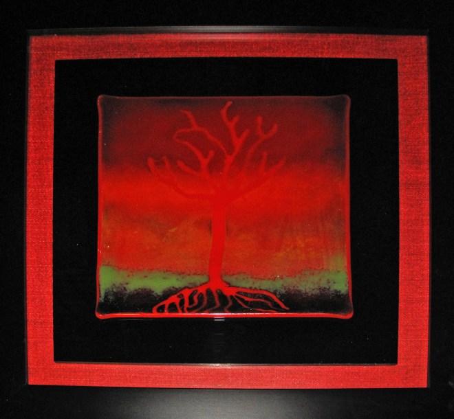 Title FIRE TREE Medium fused glass Size 16 x 14