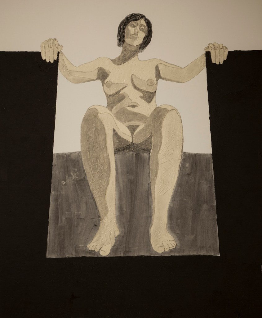 Title Man up Medium latex and charcoal on canvas Size 6' x 5'