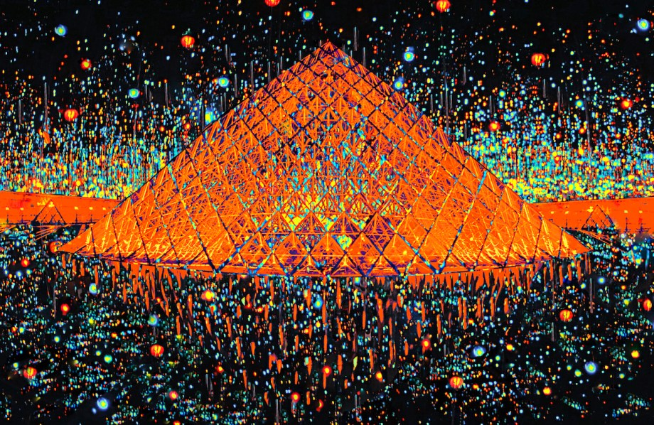 Title Paris Pyramid at Midnight Medium Photography based art Size 30x45