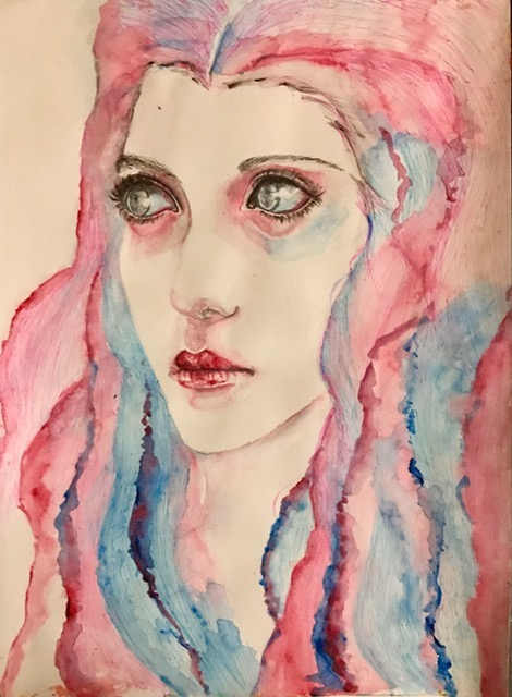 Title Screaming Eyes Medium Watercolor on paper Size 15*12