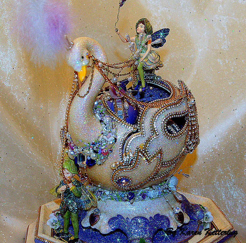 Title Fairies and the Swan Medium Ostrich egg Size 12 inch x 12 inch x 12 inch