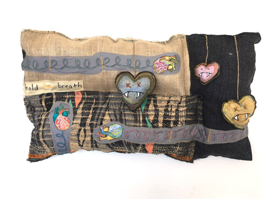 """Title Just Mixed Medium hand-woven and machine-made fabric, embroidery, inkjet prints, fleece, fabric paint Size 15"""" x 25"""" x 3"""""""