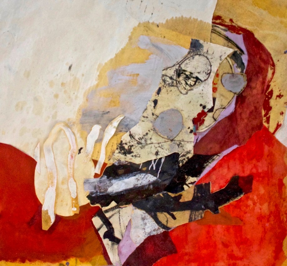Title pointing to the uncontrived Medium oil paper collage Size 33 x 35 inches
