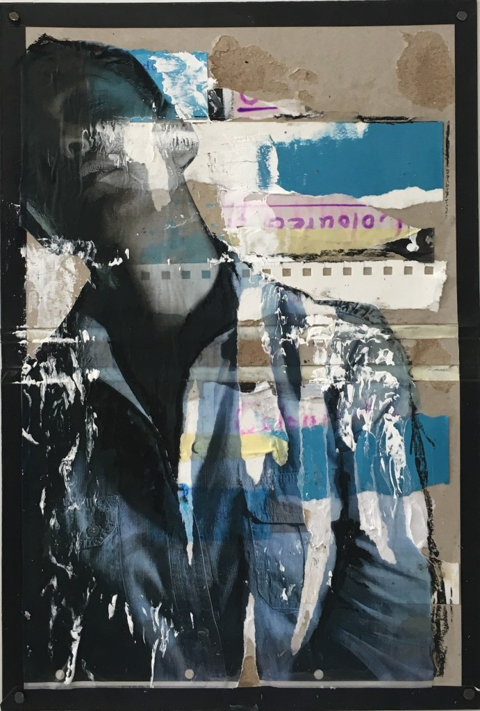 Title Traces V Medium Mixed media ( photography, collage, oil paints, oil pastels on wood panel) Size 55 cm H x 42 cm W
