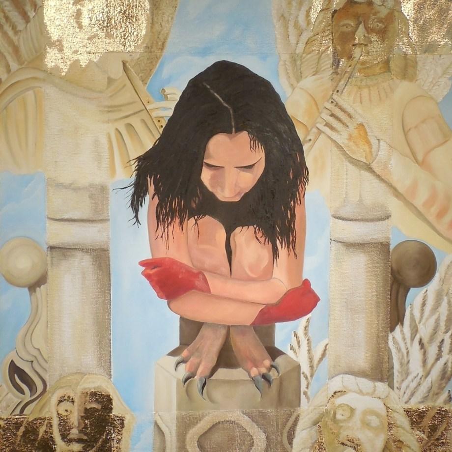 "Title Calling the Archangels Medium oil paint,mix medium on canvas Size 46""x40"""