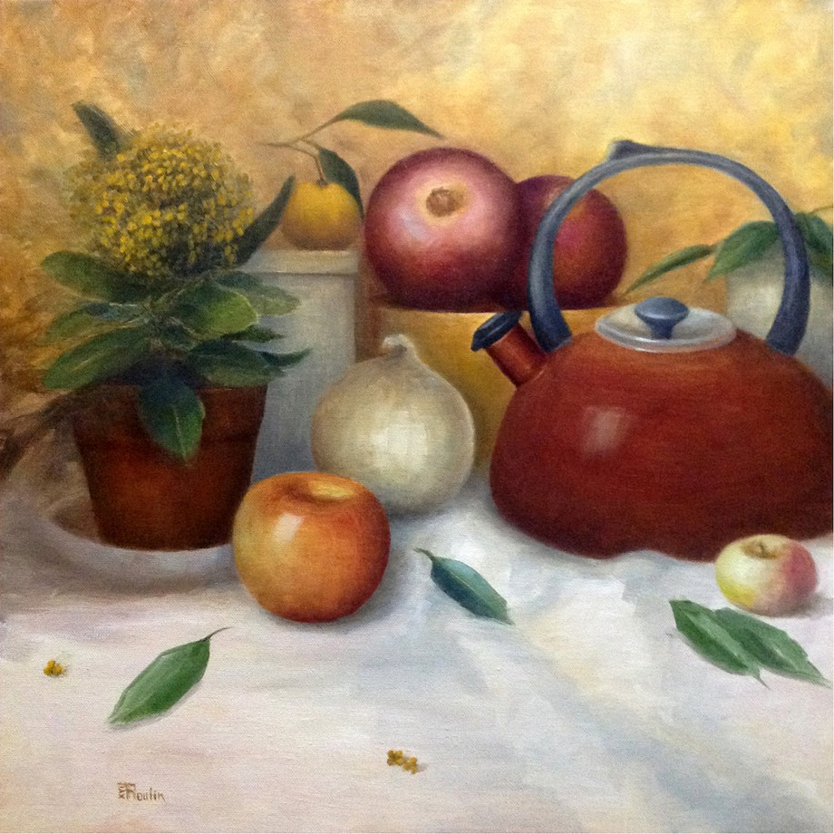"Title Still Life With Red Kettle Medium Oil Size 20""x20"""