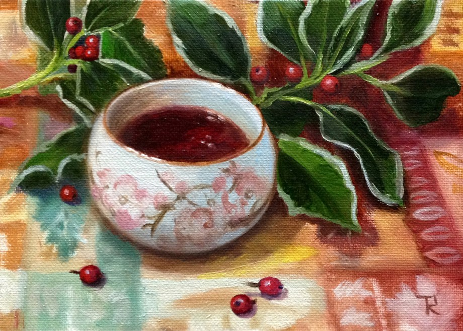 "Title Teacup And Berries Medium Oil Size 5""x7"""