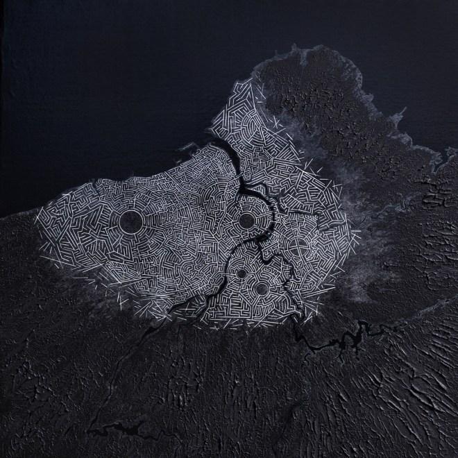 Title Derelict / Black ro-602 Medium acrylic, giclée on canvas Size 60 x 60 cm