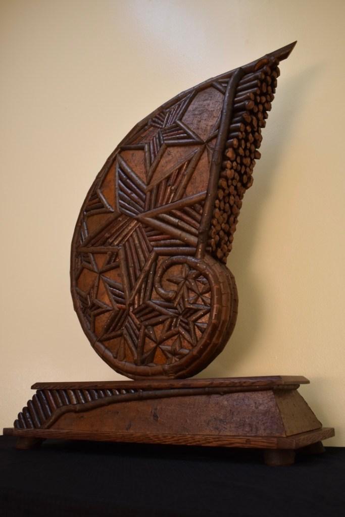 Title Fractal Medium Sculpture; Wood/Natural naterials Size 34 x 27 x 10
