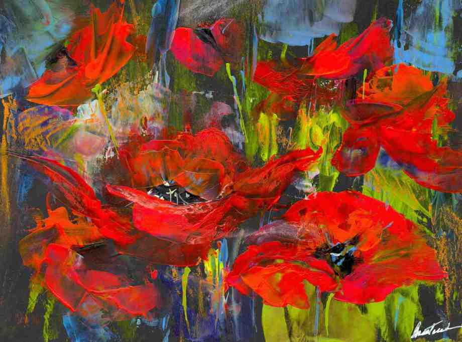 Title Swinging Poppies Medium Encaustic Wax Size 9 x 12