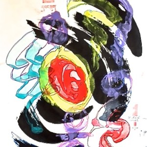 """Title Monotype Print I Medium Encaustics, Sumi Ink, archival inks on watercolor paper Size 30""""x24"""""""