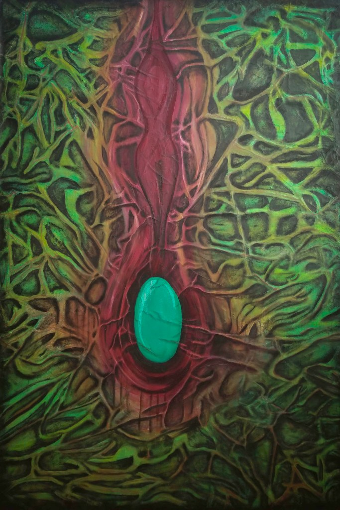 """Title It was a mistake to trap myself here Medium oil Size 33"""" x 48"""""""