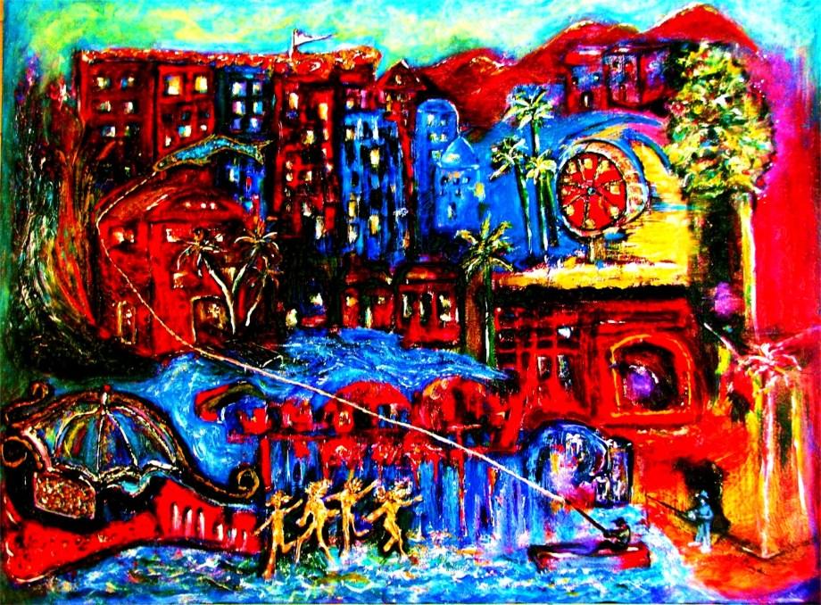 "Title Xanadu Medium Acrylic on Gallery-wrapped Canvas Size 36""X48"""