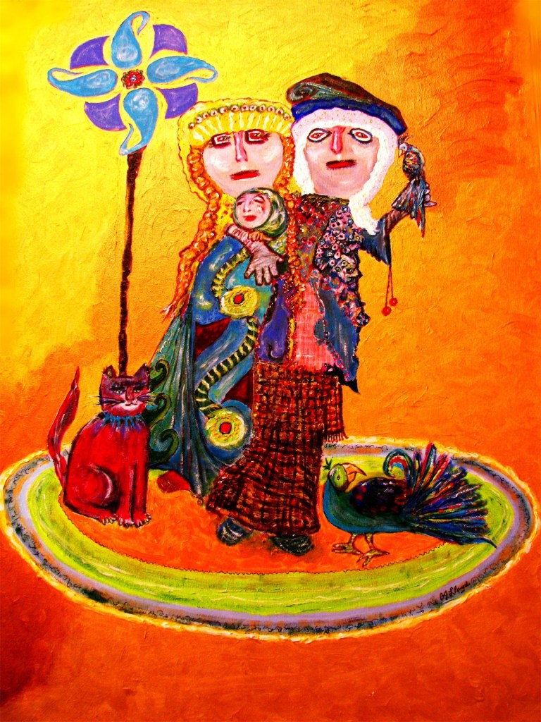"Title Peruvian Family, Chancay Period, 1400BCE Medium Acrylic on Gallery-wrapped Canvas Size 30""X40"""