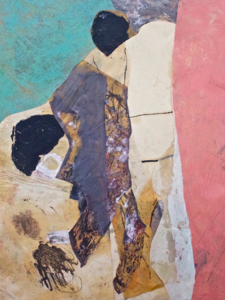 """Title losing the action in the view Medium oil paper collage Size 36 x 48 """""""