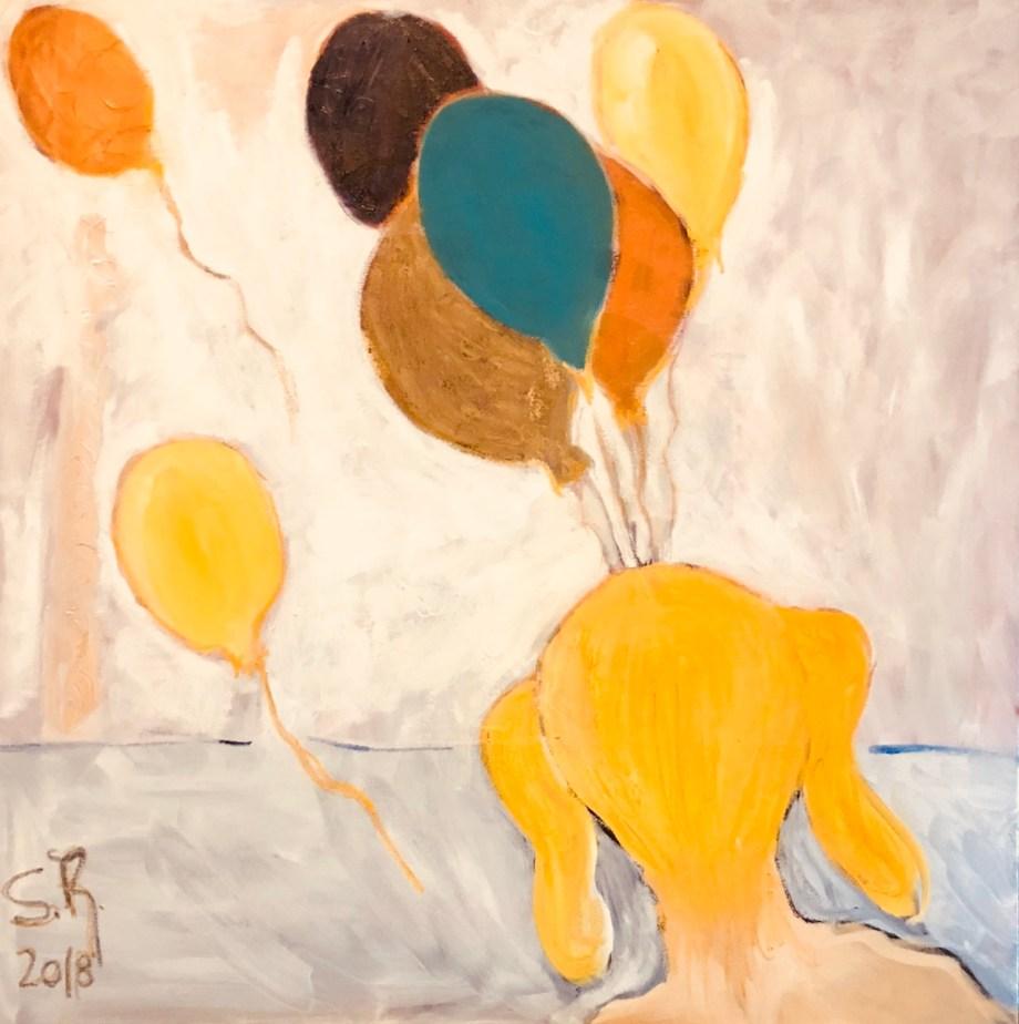 Title Balões Medium oil on canvas Size 80x80cm