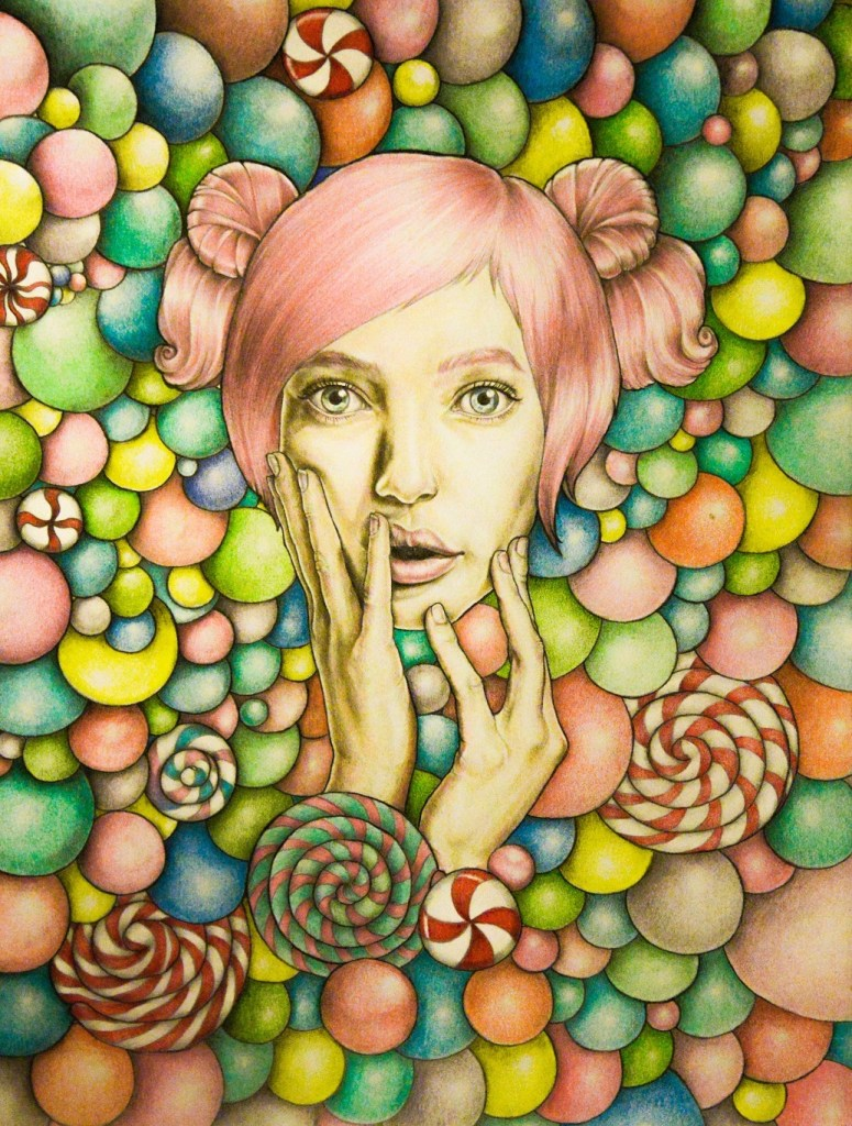 Title Candy girl Medium Graphite, color pencil, aquarelle pencil on paper Size 420 x 598 mm