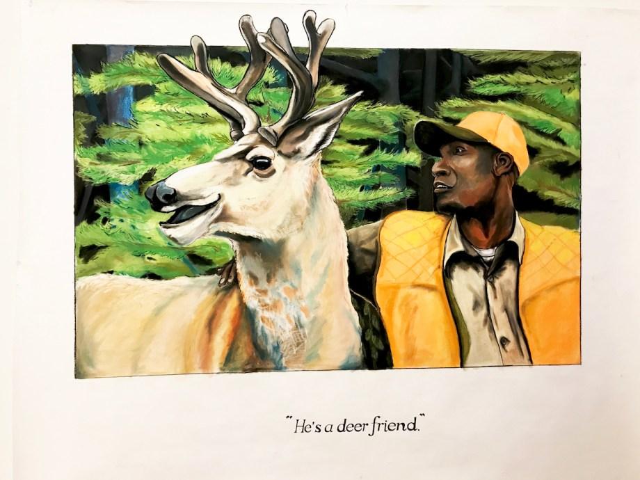 Title He' A Deer Friend Medium Chalk Pastel & Charcoal Size 5.5 Feet x 4 Feet