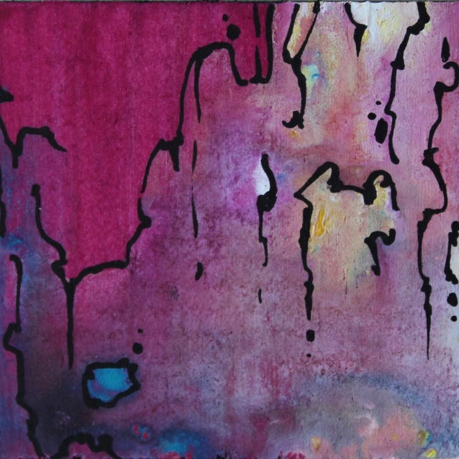 "Title Sad Love Medium Acrylic on Wood Size 2.5""x2.5"""